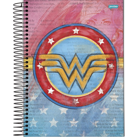 Caderno 10 Matérias Universitário Espiral Mulher Maravilha / Wonder Woman - Jandaia