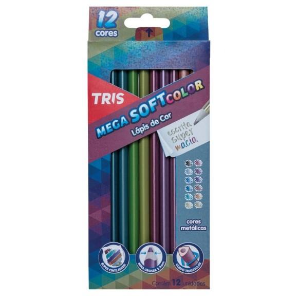 Lápis de Cor 12 Cores Metálicas - Mega Soft Color - Tris