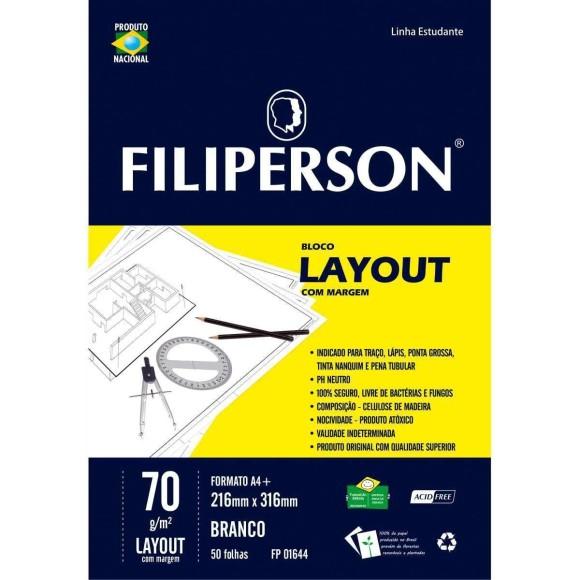 Bloco Layout Com Margem - 50 Folhas 70g/m² - Branco - Filiperson