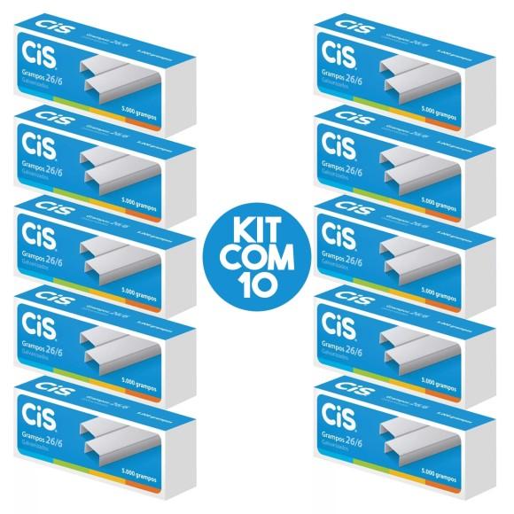 Grampos 26/6 Galvanizados 10 Caixas com 5000 Unidades Cada - Cis