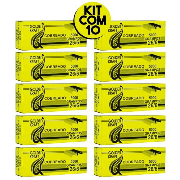 Grampos 26/6 Cobreados 10 Caixas Com 5000 Unidades Cada - Golden Kraft