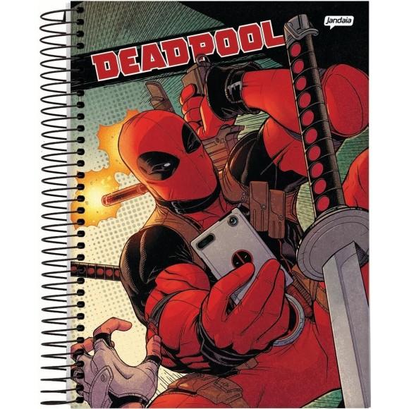 Caderno 10 Matérias Universitário Espiral Deadpool - Jandaia