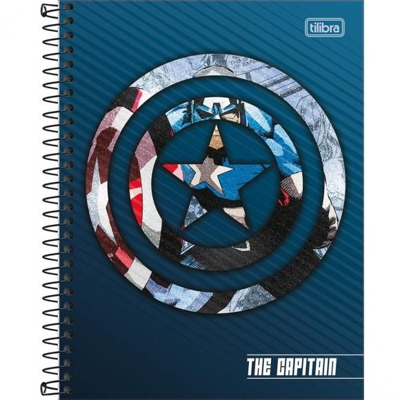 Caderno 10 Matérias Colegial Espiral The Captain (Capitão América) - Tilibra