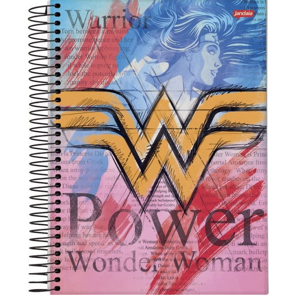 Caderno 1 Matéria Colegial Espiral Mulher Maravilha / Wonder Woman - Jandaia