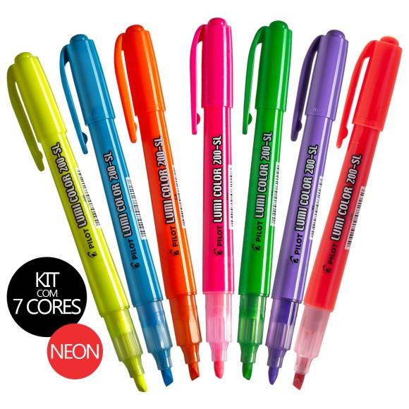 Kit Canetas Marca-Texto Lumi Color 200-SL 7 Cores Neon - Pilot