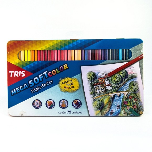 Lápis de Cor 72 Cores - Mega Soft Color - Tris