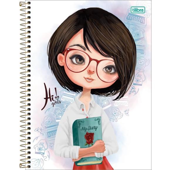 Caderno 1 Matéria Universitário Espiral Hi! Girls -