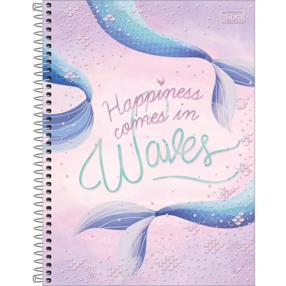 Caderno Universitário Espiral Wonder Happiness Comes in Waves - 1 Matéria - Tilibra