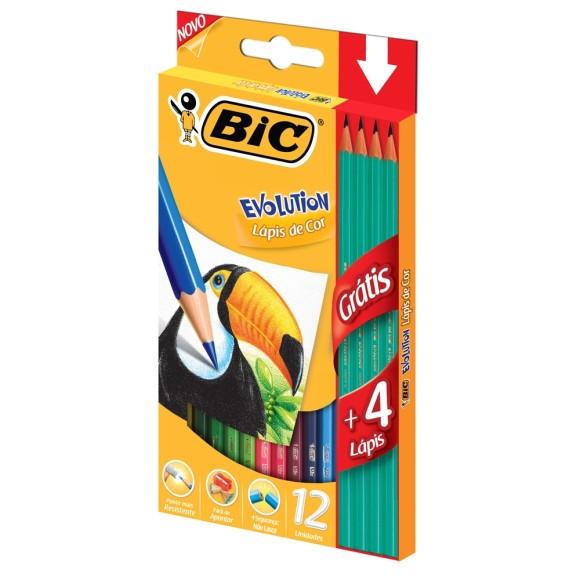 Lápis de Cor 12 Cores - + 4 Lápis Preto Evolution - BIC