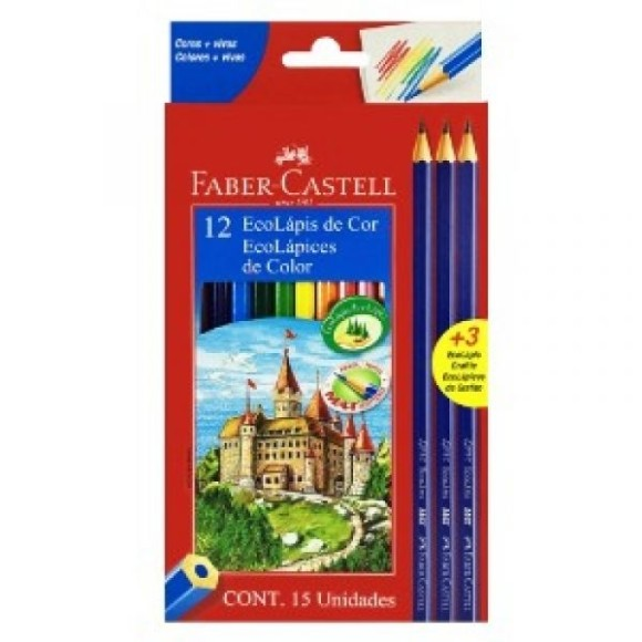 Lápis 12 Cores + 3 EcoLápis Grafite Faber Castell