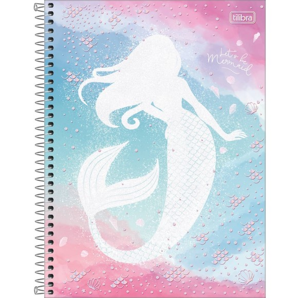 Caderno Universitário Espiral Wonder Let's be Mermaid - 10 Matérias - Tilibra