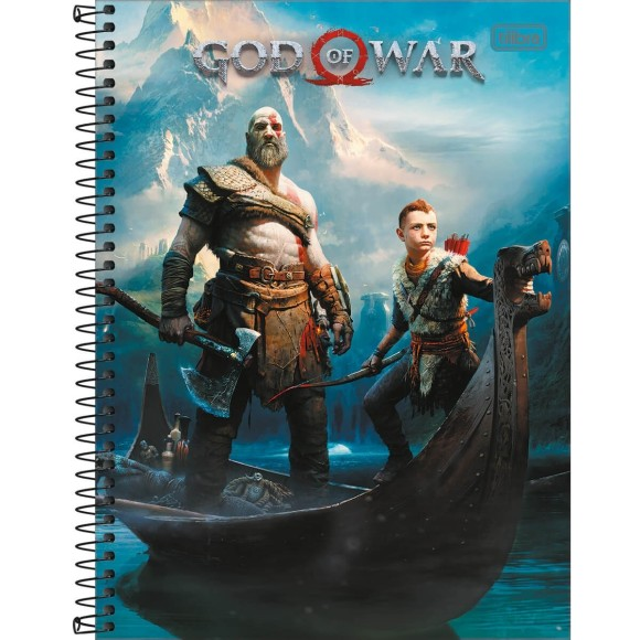 Caderno 10 Matérias Universitário Espiral God Of War - Tilibra