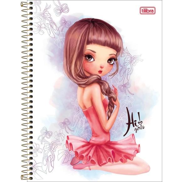 Caderno Universitário Espiral Hi! Girls Bailarina - 10 Matérias - Tilibra