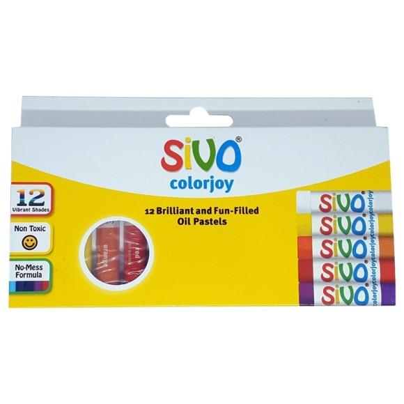 Giz de Cera 12 Cores Colorjoy - Pastel a óleo - Sivo - CiS
