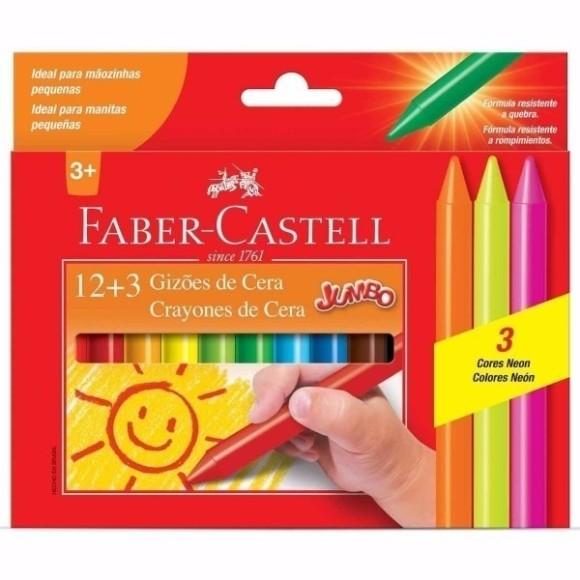 Gizões de Cera 12 cores + 3 Cores Neon Jumbo Faber Castell