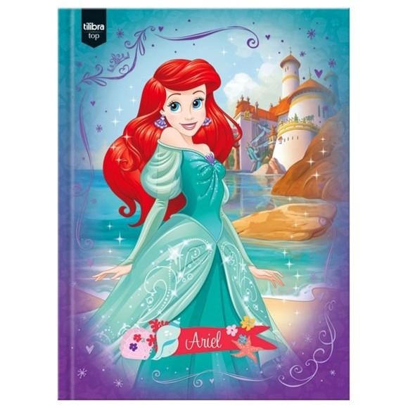 Caderno Brochurão Capa Dura Princesas Ariel - 96 folhas - Tilibra
