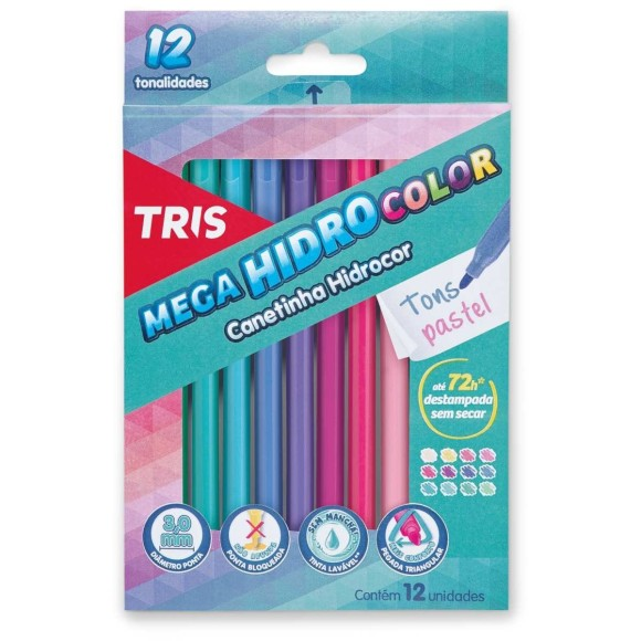 Canetinha Hidrocor 12 Tonalidades - Tons Pastel - Mega Hidro Color - Tris