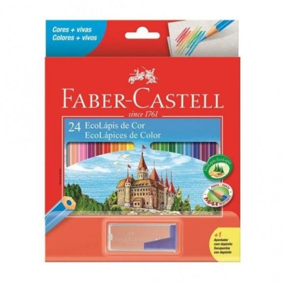Lápis 24 Cores + Apontador com depósito Faber Castell