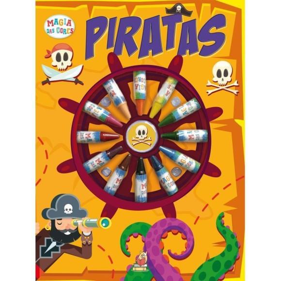 Livro de Colorir - Piratas - C/ Giz de Cera 12 Cores - Livros Magic