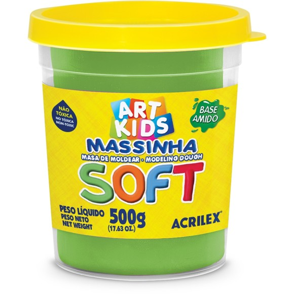 Massinha Verde 500g Soft Art Kids - Acrilex
